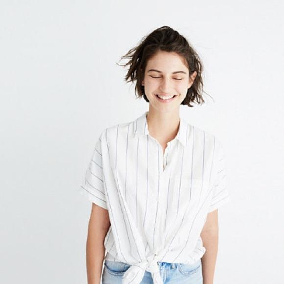 3540abf787 Madewell Tops | Short Sleeve Tie Front Shirt Abbi Stripe | Poshmark